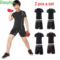 KIDS 2PCS Running Sets child Sportswear Compression Clothes Fitness Basketball Soccer Gym Clothing Summer children Sports Suits