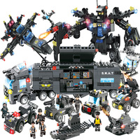 8 In 1 City Police Series SWAT Building Blocks Kids Assembling Weapons Aircraft Car Robot Toy Compatible with Legoed