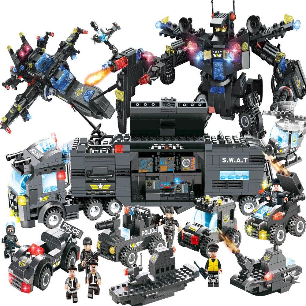 Bloques de construcción SWAT de la serie de policía de la ciudad de 8 en 1 para niños que ensamblan armas avión coche Robot de juguete Compatible con Legoed