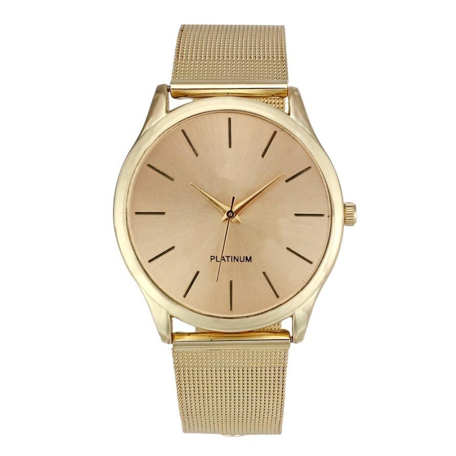 Üstün Yeni Moda Klasik Altın Kuvars Paslanmaz Çelik Bilek İzle - Kadın Saatler - Fotoğraf 2