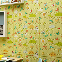 Nordic cartoon honeycomb INS Living room retro 3D wall sticker Waterproof TV background wallpaper Foam self-adhesive