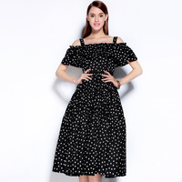 2016 Autumn Newest Brand Fashion Style A Line Slash Neck Off The Shoulder Ruffled Dots Print