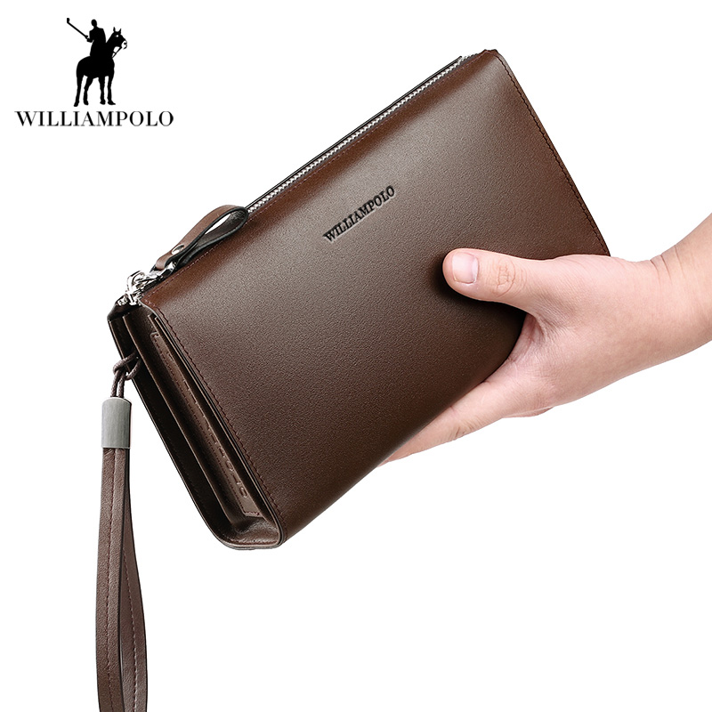 Italy Genuine Leather Men Wallets Zippers Man Wallet Phone Pocket Purse luxury brand black zipper men clutches free shipping