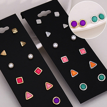 Hot Fashion Women's Golden Silver Geometric Shape Tiny Cute Ear Stud Earrings 6 Pairs 6SNQ 7EYV BE36