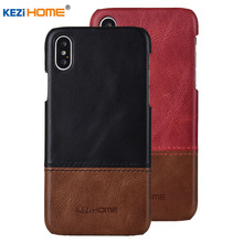Case for iPhone Xs Max KEZiHOME Luxury Hit Color Genuine Leather Hard Back Cover capa For iPhone Xs Phone cases