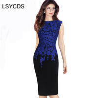 2016 New Arrival European Style Women Lace Print Patckwork O Neck Sexy Plus Size Pencil Dress