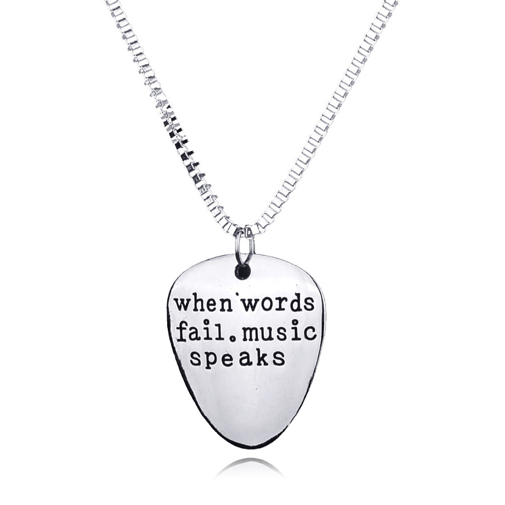 Stamped When words fail music speaks Silver Letter Guitar Pick Collier Pendant Necklace Handstamped Lettering Necklace for Women ...