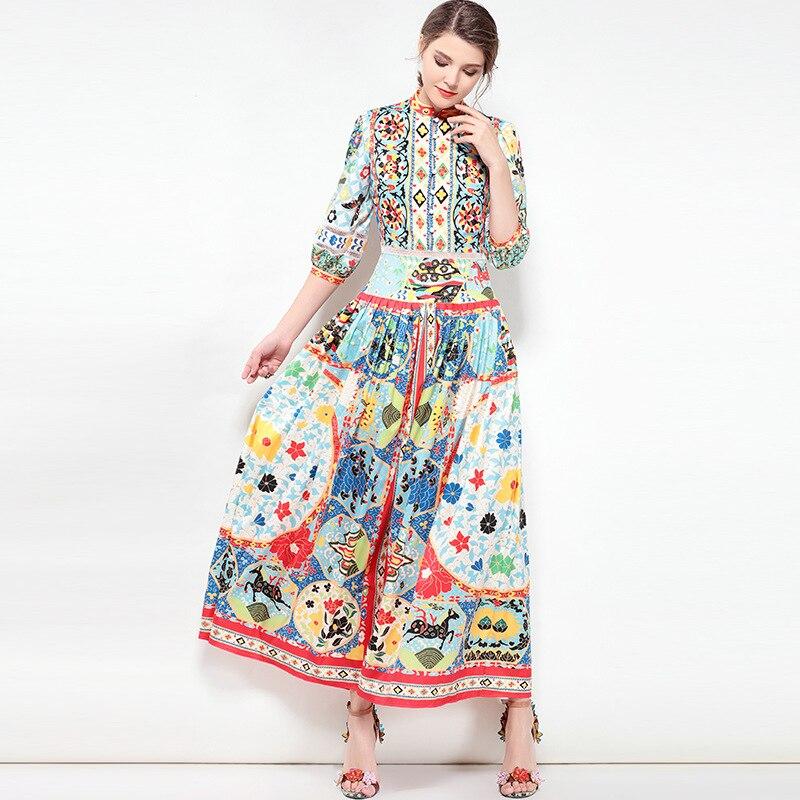 Vintage Femmes Nouveau Indie Motif Multi Folk Bouton Imprimer Longue Robe Haute 2018 Maxi Qualité Piste Designer D'été X7EqAwC
