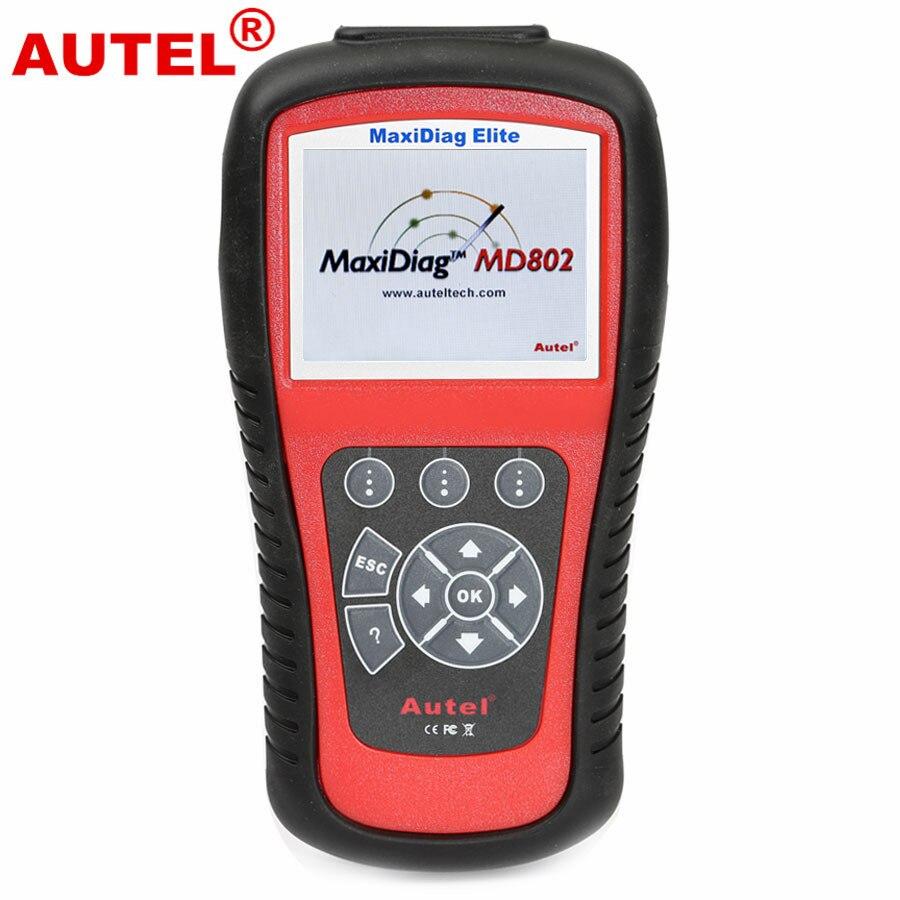 Цена за 100% оригинальный код Autel читатель Autel Maxidiag Elite MD802 для 4 Системы DS Модель Autel MD802 OBD2 код сканер