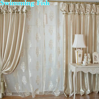 Korean Lanterns Head Curtain Champagne Color Top Quality Bedroom Curtain Finished Product Customize Curtain Window Screening