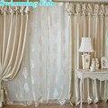 Lanternas coreano seleção da janela jacquard cortina com valência beads champagne personalizado tule para o quarto sala de estar