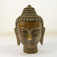 wholesale factory Decoration Crafts Brass old china superb BRASS handmade carved Buddha head statue blessing people
