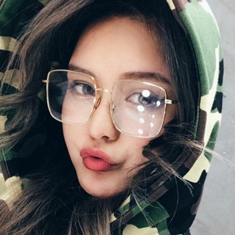 MISM Simple Square Metal Unisex Colorless Glasses Vintage Shield Wrap Sunglasses For Men Girls Hip-hop Street Style Oculos Gafas