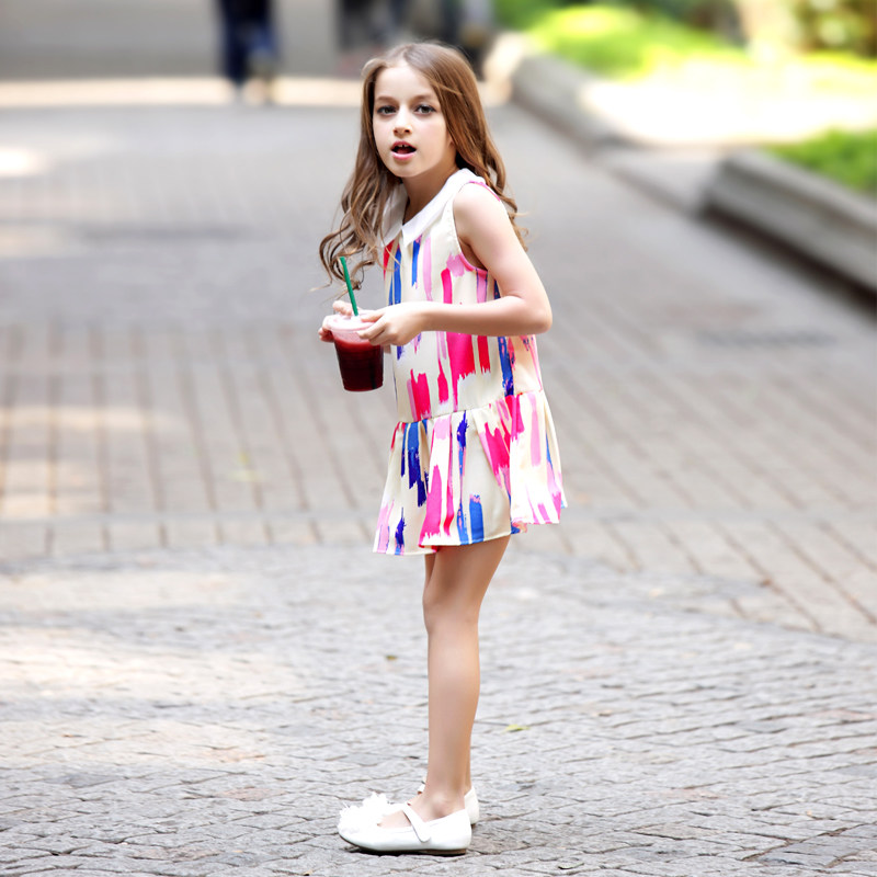 Teen Girls Dresses Paint Scrawl Colorful Pink Blue Dress School Girls Frock Design For Age   Years Old In Dresses From Mother