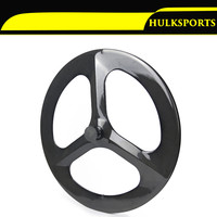 3K Gloosy Front Rear Carbon Wheels 700C 70mm Tri Spokes Clincher Carbon 3 Spoke Wheel For