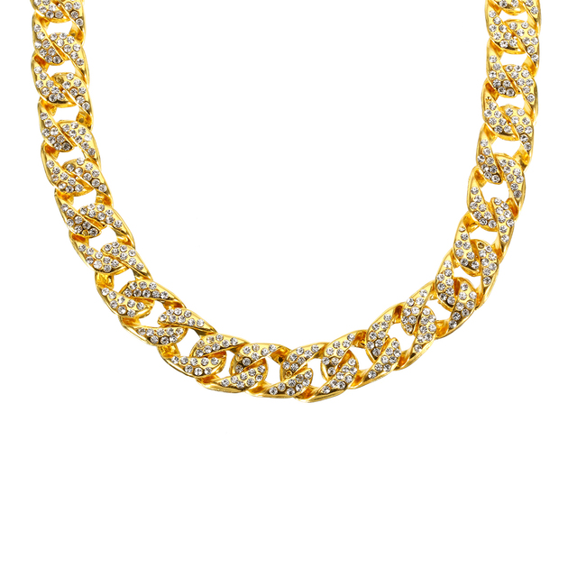 0.55 inch Crystal Embellished Gold-Plated Chain Necklace