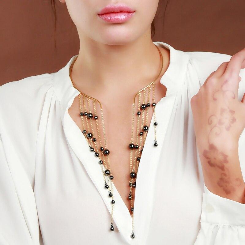 חדש עיצוב שחור ארוך ציצית CCB חרוזים קולר שרשרת זהב צבע מומנטי לנשים הודי תכשיטים סיטונאי
