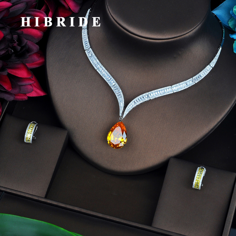 HIBRIDE Luxury Yellow Water Drop Cubic Zirconia Women Jewelry Sets Necklace Set Wedding Bride Dress Accessories Party Show N-444 hibride luxury top quality white green water drop shape cubic zirconia jewelry sets white gold color necklace earrings n 057