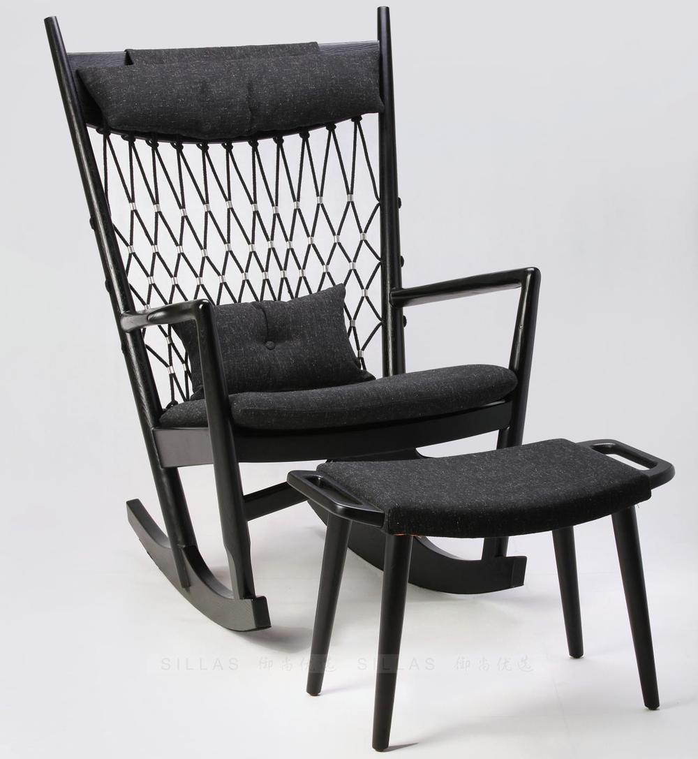 Nordic wood rocking chair recliner sofa ash black cloth braided rope ...