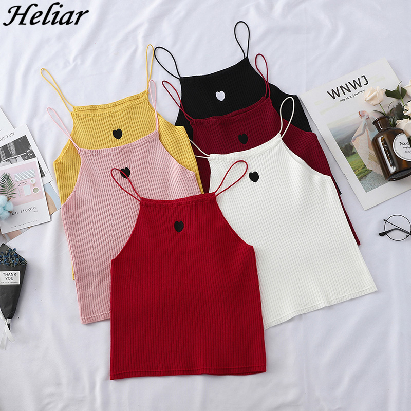 HELIAR 2020 Summer Fashion Hot Women Crop Tops Sleeveless Vest Causal Solid Simple Female Sexy Embroidery Camis Bottom Tank Tops