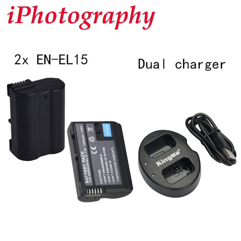 2x EN EL15 Battery for Nikon D7000 D800 D7100 D750 D610 D810 Dual charger