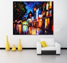 100% Hand-painted Modern European Cityscape Palette Knife Painting Architecture Art Canvas Wall Art for Living Room Home Decor