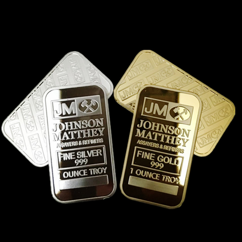 2 pcs The brand new American Johnson Matthey JM bank silver 24k gold plated bullion bar souvenir coin bar