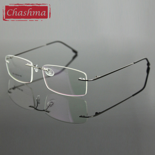 Chashma Rimless Titanium Ultra Light Weight Myopia Glasses Frame Optical Eye Glasses For Men