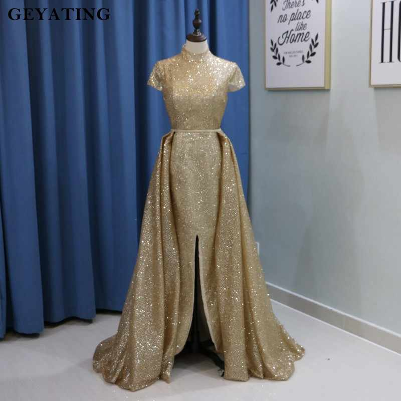 876be3cb3b Glitter Gold Sequin Arabic Dubai Evening Dress with Sleeves Detachable  Train High Neck Split Champagne Long Prom Dresses 2019