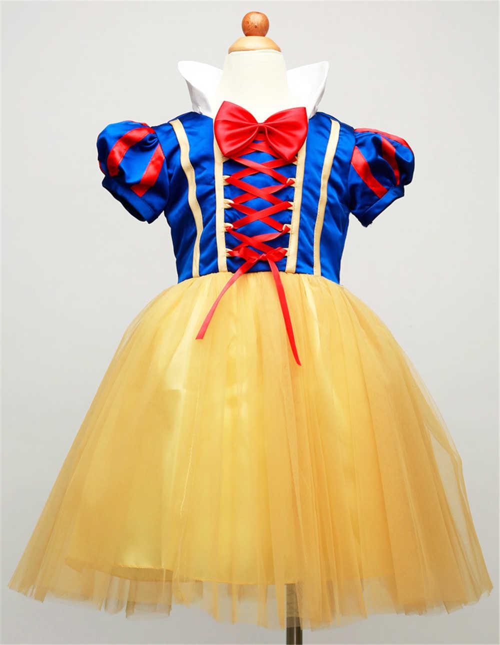 2-14 Anni Fantasia Ragazze Neve Abiti Bianchi per I Bambini Si Travestono Abbigliamento Pretty Girl Bambini Tulle Princesa Cosplay Dress