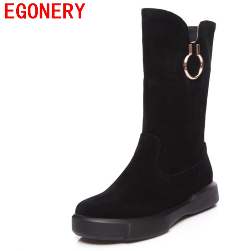 EGONERY woman fashion mid calf boots ladies low heel round toe casual winter 3 colors slip on good quality women brand shoes цены