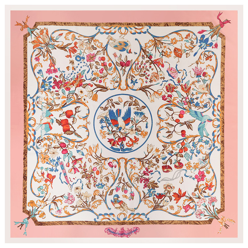 POBING Luxury Brand Silk   Scarf   Women Sky Lucky Birds Nest Print Square   Scarves   Life Tree Large Foulard Femme Twill Silk   Scarf