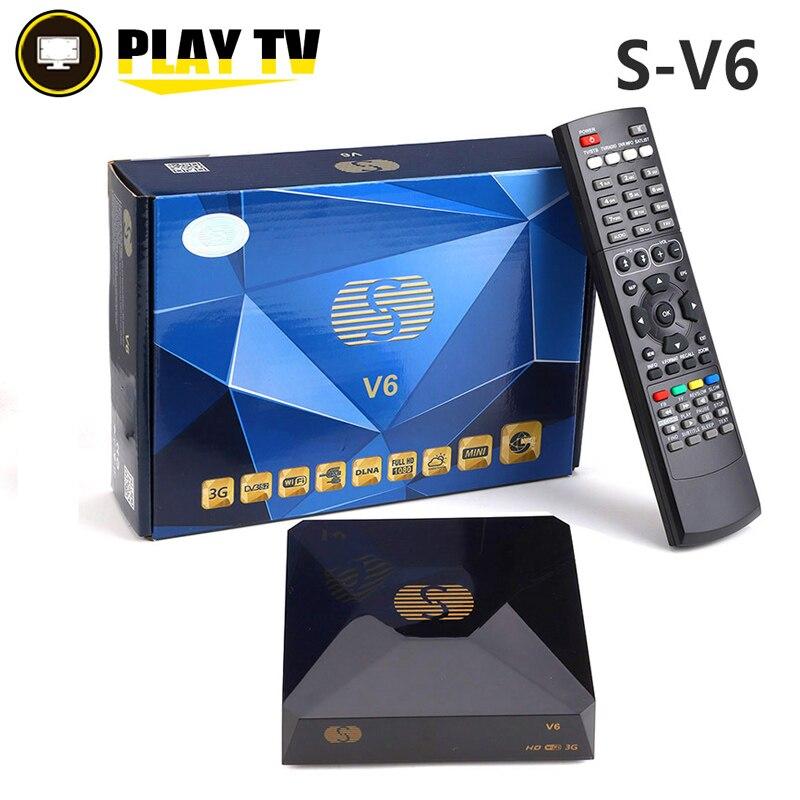 S-V6 DVB-S2 receptor de satélite digital com 2 porta usb suporte xtream nova roda tv youtube usb wifi cartão sahring mgcamd dvb s2