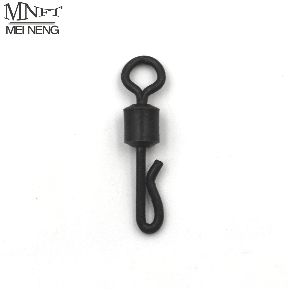 MNFT 25pcs Large Long Body Q-Shaped Black Color Quick Change Swivels For Carp Fishing Size 4# Fishing Terminal Tackle Accessory