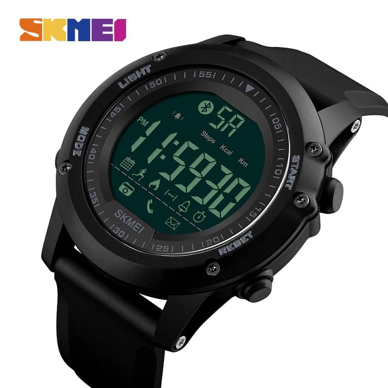все цены на SKMEI Men Smart Watch Pedometer Waterproof Digital Wristwatches Remote Camera Calorie Bluetooth Watches Relogio Masculino 1321 онлайн
