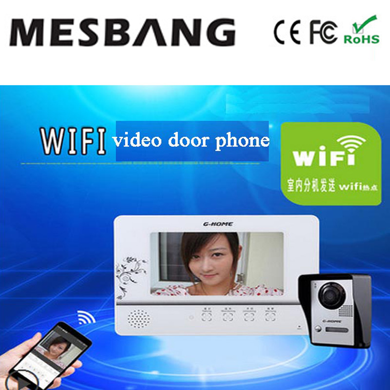 hot wifi video door phone intercom with APP remotely control and inner monitor  free shipping 2015 free shipping wifi video door phone door bell intercom systems app can be run in android and ios devices