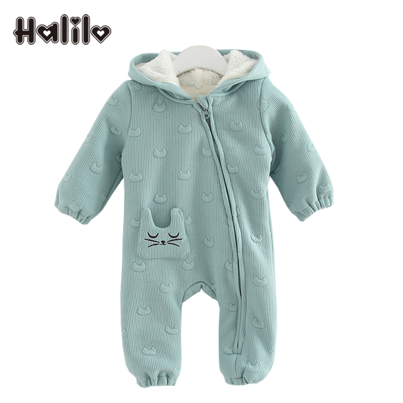 Halilo Baby Girl Romper Winter Thicken Warm Christmas Romper Newborn Clothing Baby Boy Rompers Hooded Boys Girls Jumpsuit 2018