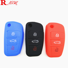 3 Button Car Silicone Key Cover For Smart Audi A1 A2 A3 Q3 Q7 R8 A6L TT Case with logo Styling key case shell