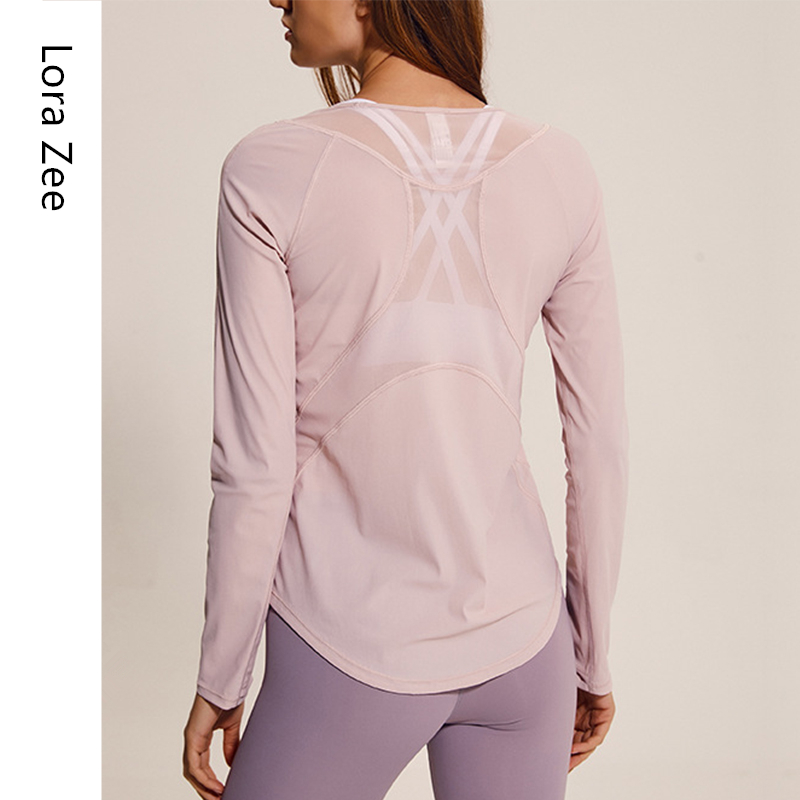 Comfy Sports Wear For Women Gym Mesh Breathable Quick Dry Workout Tops Loose Long Sleeve Shirts Fitness Yoga Top 2019