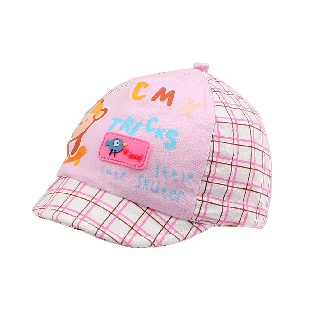 Cartoon Baby Baseball Caps Cute Monkey Infant Cap Plaid Letter Girls Hat Cotton Boys Sunscreen Cap Baby Girls Clothing 0-3 M Superior Performance Accessories