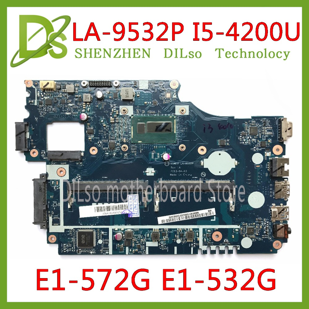 KEFU LA 9532P mainboard For Acer aspire E1 572 E1 532 E1 532G E1 572G laptop motherboard V5WE2 LA 9532P I5 4200U original Test