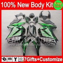 Verkleidung Für Kawasaki Ninja 250R grünen flammen ZX250R EX 250 CL4128 EX250 2008 2009 2010 schwarz 2011 2012 08 09 10 11 12 + aufkleber