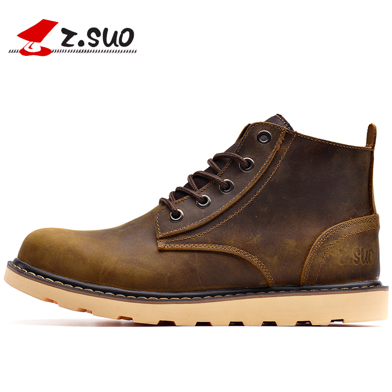 Z.SUO Brand Keep Warm Men Winter Boots High Quality Genuine Leather Wear Resisting Casual Shoes Working Fahsion Men Snow Boots new 2015 spring brand camel fashion leisure men low flat wear resisting high quality leather high end shoes with box