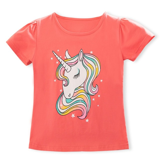 2019 Summer Fashion Unisex Unicorn T-shirt Children Boys Short Sleeves White Tees Baby Kids Cotton Tops For Girls Clothes 3 8Y 3