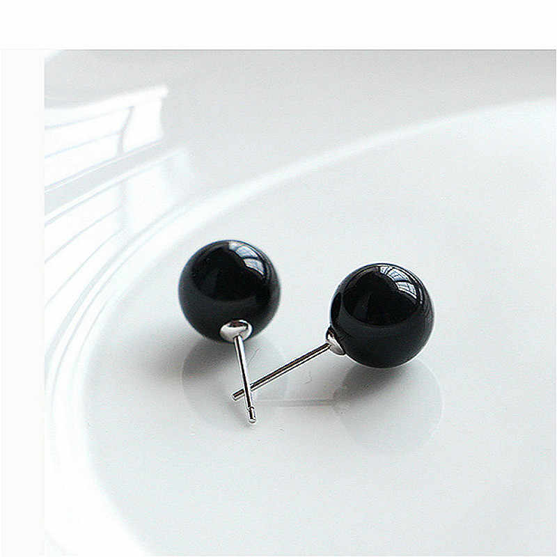 (no Packing Box)1 Pair Jewelry New Design Mysterious Black Pearl Stud Earrings For Women New Accessories Wholesale 4mm 6mm 8mm