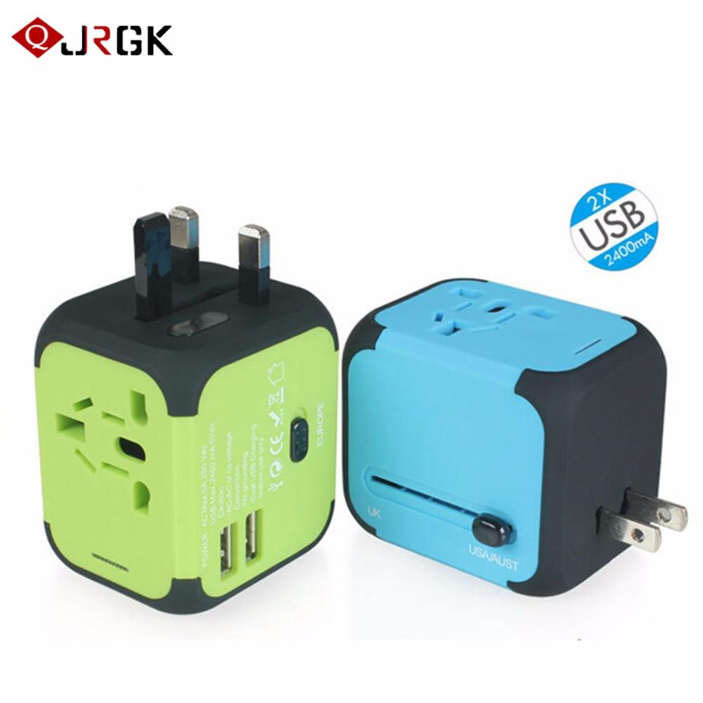 JRGK Dual USB Power Indicator universal Charging 2.4A LED Travel Adapter Electric Plugs Sockets Converter US/AU/UK/EU