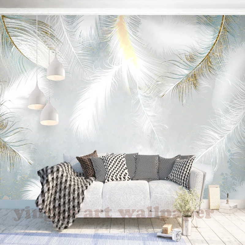 Custom 3D Photo Wallpaper Modern Simple Hand Painted Watercolour Feather Wall Mural Wallpapers For Living Room Bedroom De Parede