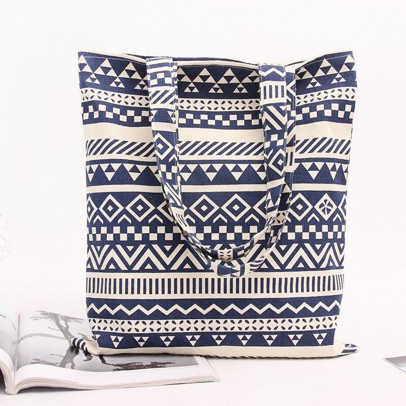 Gepäck & Taschen Beliebte Marke Yile Handarbeit Baumwolle Leinen Eco Wiederverwendbare Einkaufs Umhängetasche Tote Zickzack Linie Blau L116 Blu üBereinstimmung In Farbe Funktionale Taschen