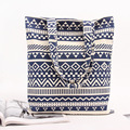 YILE Handmade Cotton Linen Eco Reusable Shopping Shoulder Bag Tote Zigzag Line Blue L116 BLU