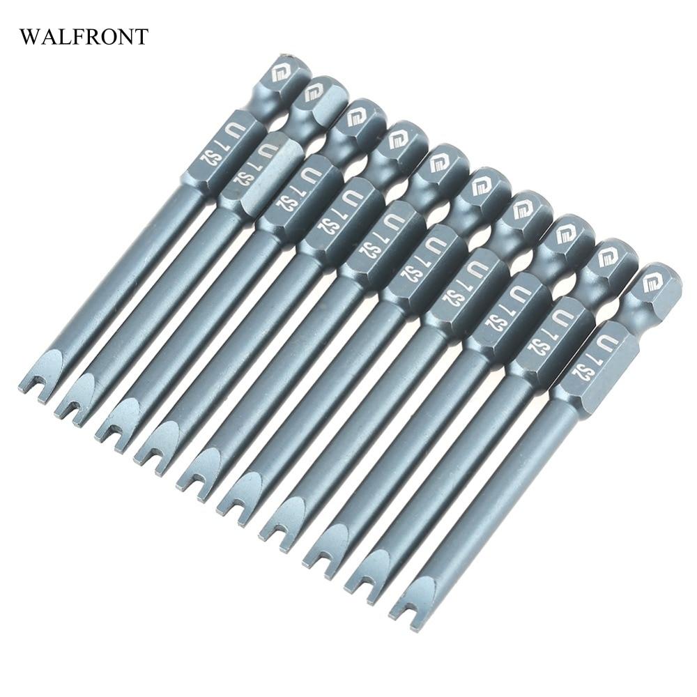 10pcs Magnetic U Shaped Screwdriver Bit 1/4inch Hex Shank 65mm S2 Alloy Steel U Shaped Screwdriver Bits Set H6.3*65*u7